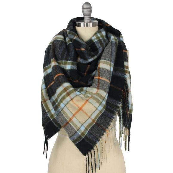 🆕 Black Plaid Bordered Square Blanket Scarf